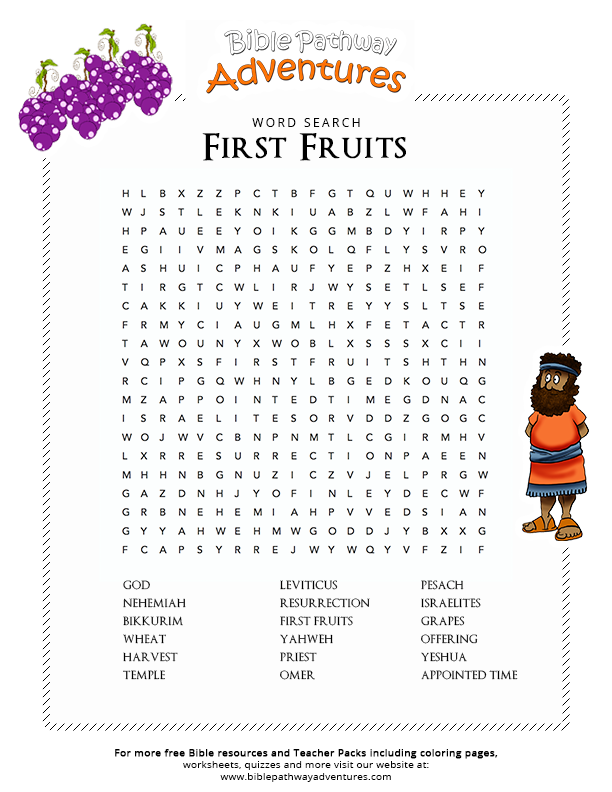 First Fruits Bible Lessons For Kids Bible Word Searches Bible Words