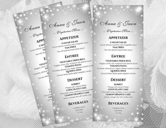 DIY Printable Wedding Menu Template Sparkly Editable MS Word - microsoft word menu templates