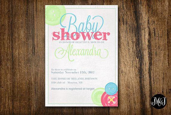 Cute Button Baby Shower Digital Invitation  by MotivateandInspire