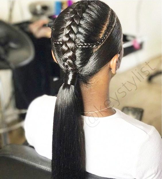 Braided Ponytail Hairstyles for Black Hair | Black ponytail hairstyles, Braided ponytail ...