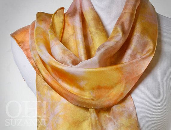 Yellow Silk Scarf Abstract Hand Dyed in Yellow Peach by OhSuzanni, $68.00 Dyed with earth-friendly cold water dyes without harmful chemicals or solvents.