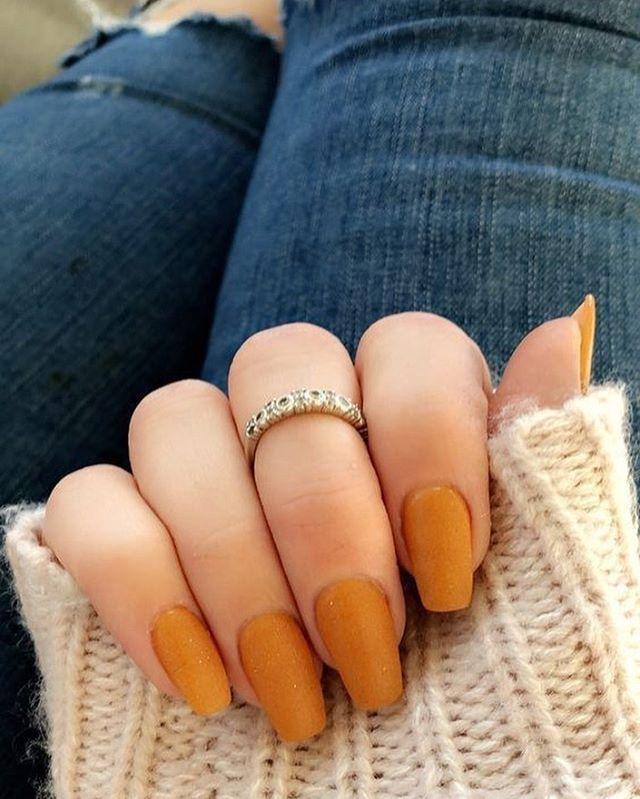 Pumpkin Color Nails 22 Fall Nail Designs To Spice Up Your Look Nail Art Nails Fallnails Autumn Aut Stylish Nails Short Acrylic Nails Fake Nails With Glue