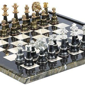 """Chess set for Adults Brass Metal Board  Pieces Vintage Hand Carved 14X14/"""" game"""