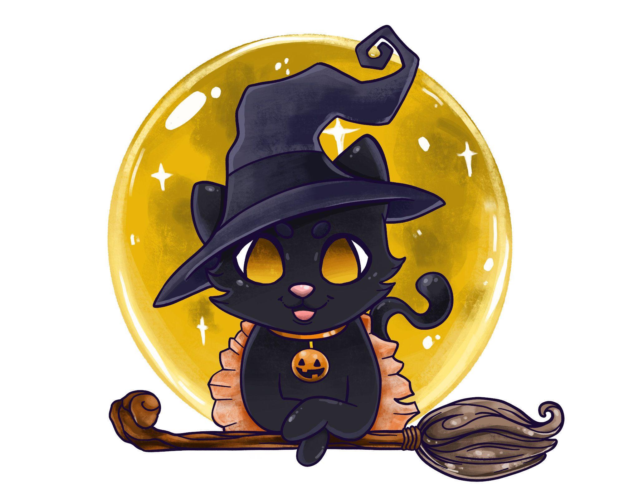 Halloween Kitty Witch Art Print Adorable Halloween Art