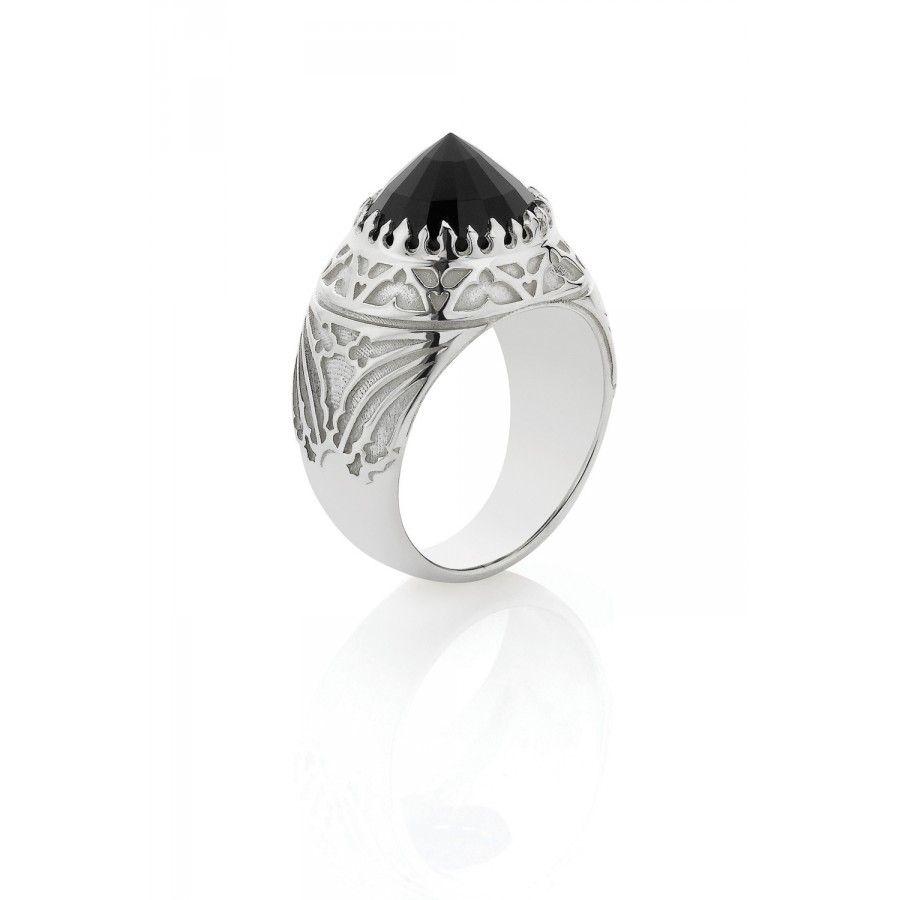 Byzantine Cocktail Ring - Onyx / Onyx / 5.5