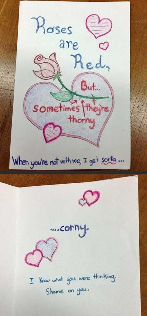 Roses are red sometimes theyre thorny When youre not with me – What to Write in Boyfriends Valentines Day Card