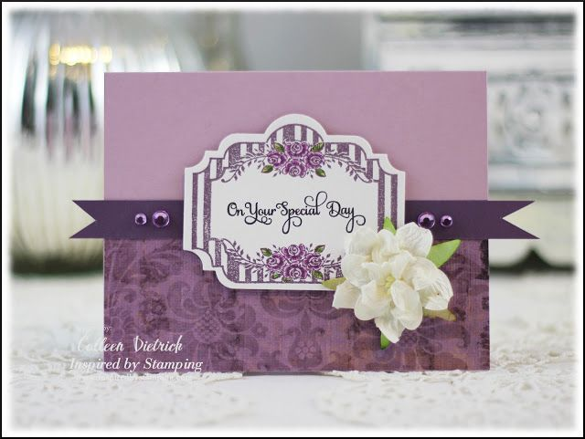 Purple wedding, graduation, or celebrate card using Inspired By Stamping goodies.  Dietrich Designs