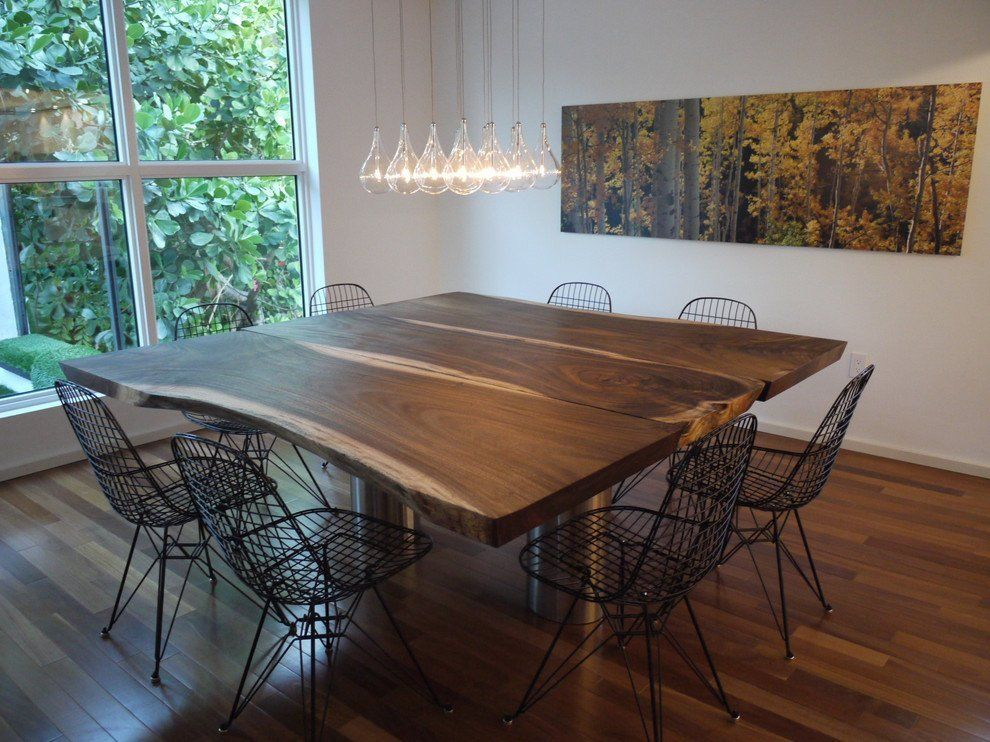 Look We Love 12 Ways To Use Live Edge Wood Tables In The Kitchen Square Dining Room Table Square Dining Tables Dining Room Contemporary