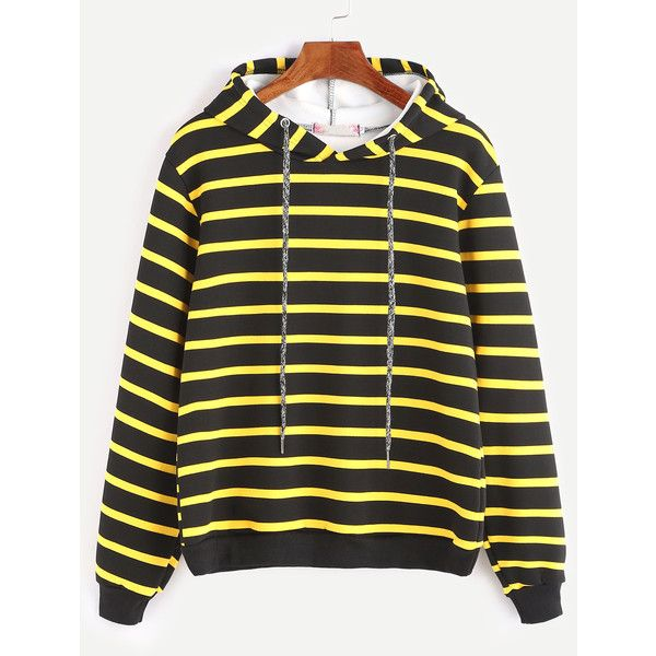 Contrast Striped Drawstring Hooded Sweatshirt ($20) found on Polyvore featuring women's fashion, tops and hoodies