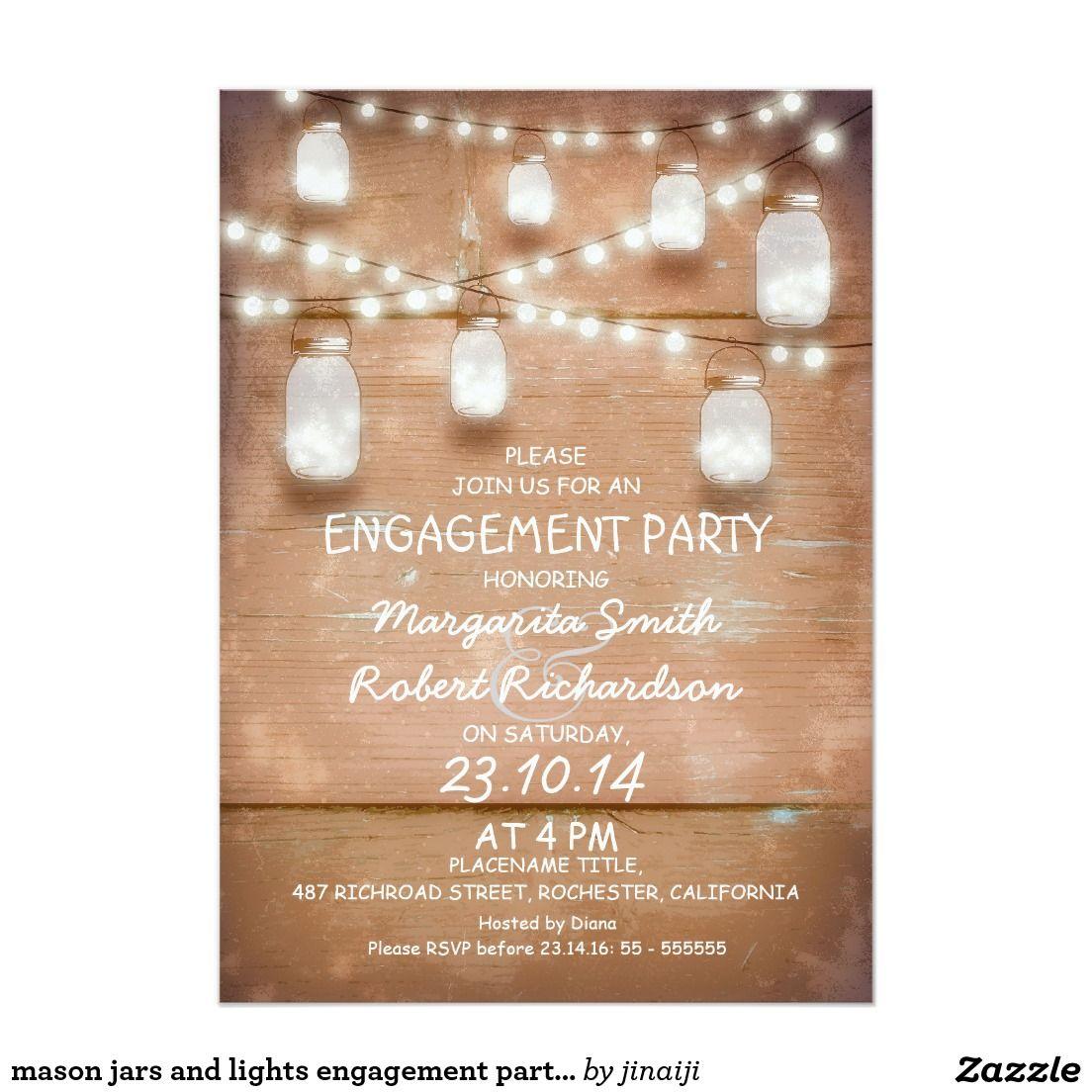 mason jars and lights engagement party invitation