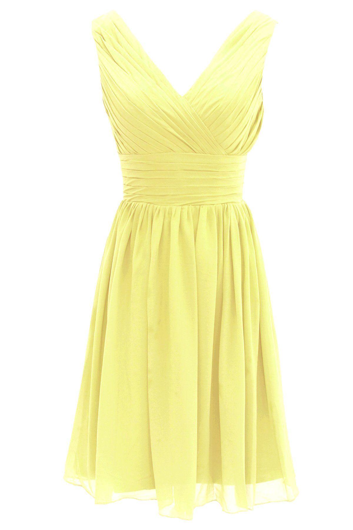 Dressystar short bridesmaid dress chiffon party evening dress yellow