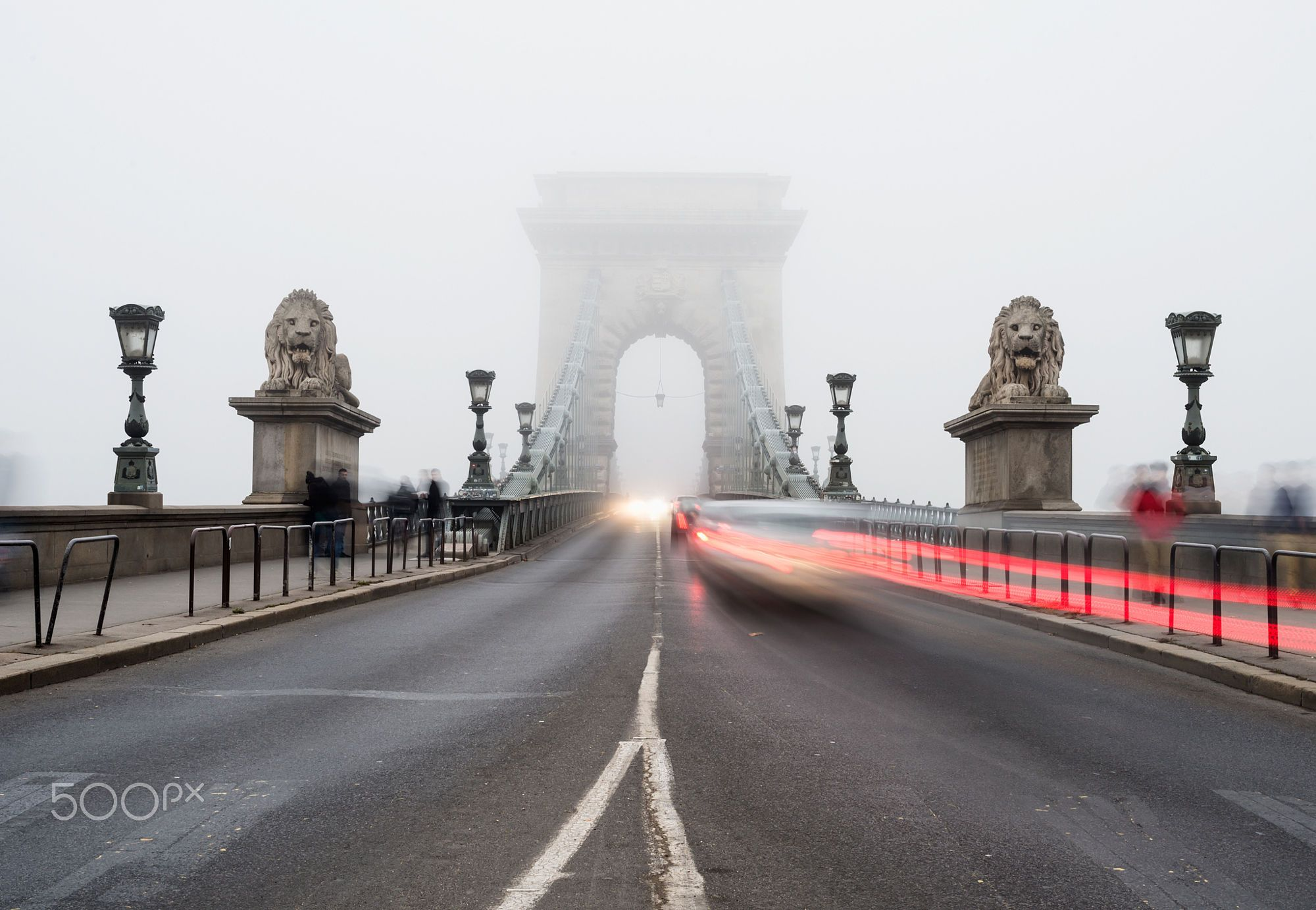 BUDAPEST, HUNGARY - 26, DECEMBER. Chain Bridge in Budapest, Hungary, in the fog. Traffic lights and  by Anna Ivanova on 500px