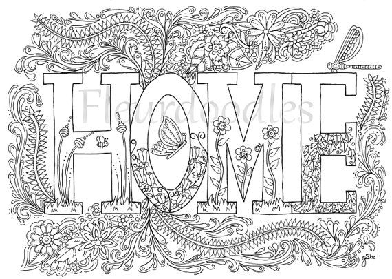 coloring page - Sweet Home - instant download, unique hand-drawn ...