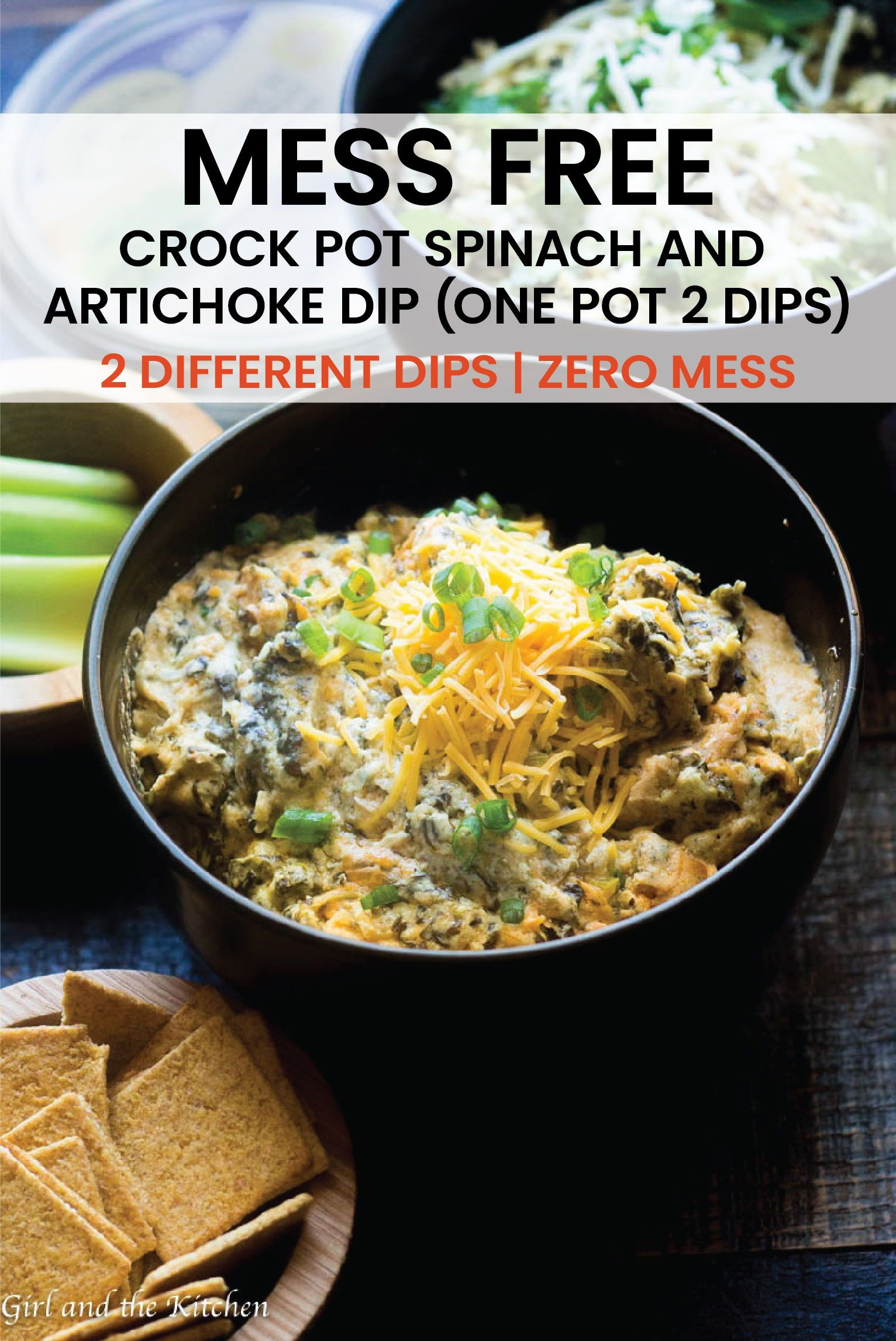 Mess Free Crock Pot Spinach and Artichoke Dip (One Pot 2 Dips) - Girl and the Kitchen This incredib