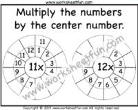 Multiplication Target Circles / FREE Printable Worksheets
