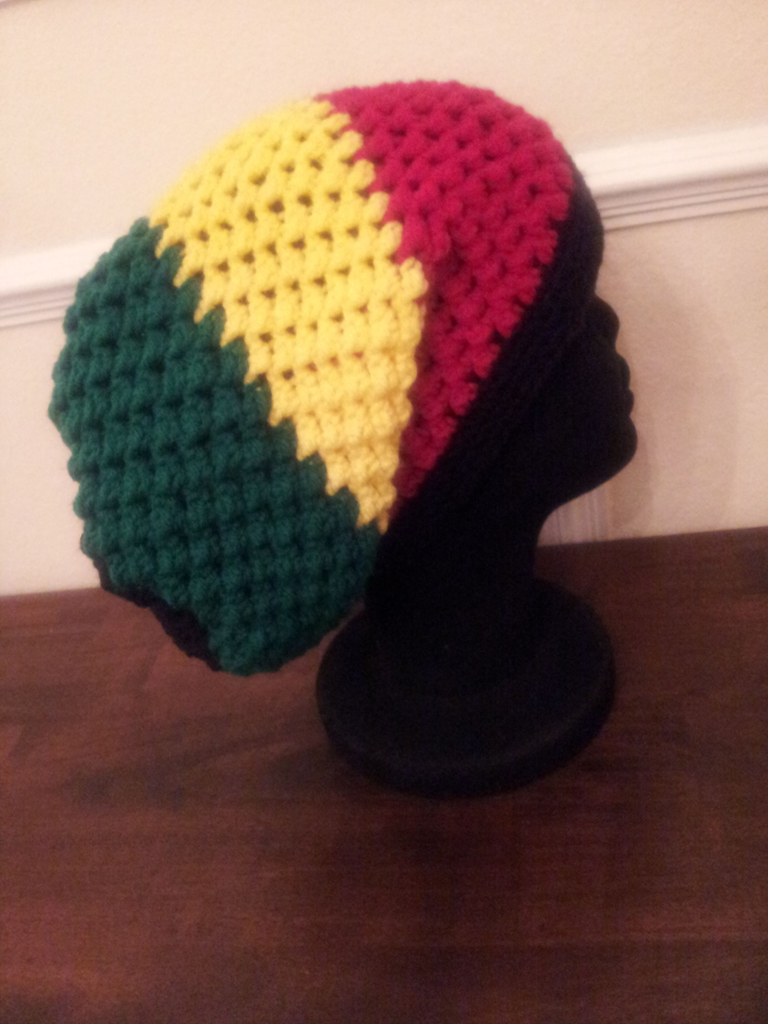 Very slouchy Rastafarian style hat. Size: L Can be made to  fit. As always made with love in every stitch!!! ONLY$ 20