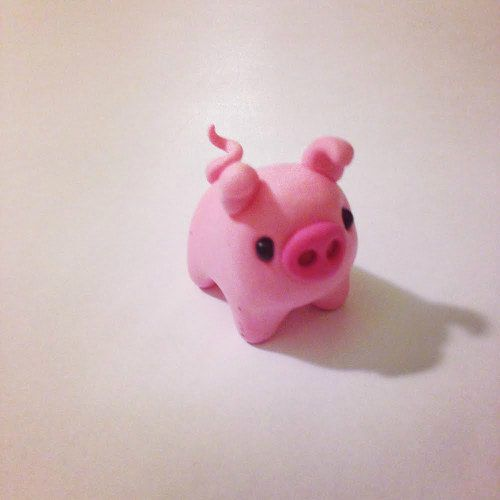 Polymer Clay Miniature Pink Pig, cCute Little Figurines ...