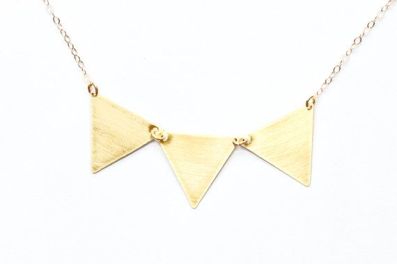 Gold triangle necklace  gold necklace  gold bunting by SeaAndCake, $58.00