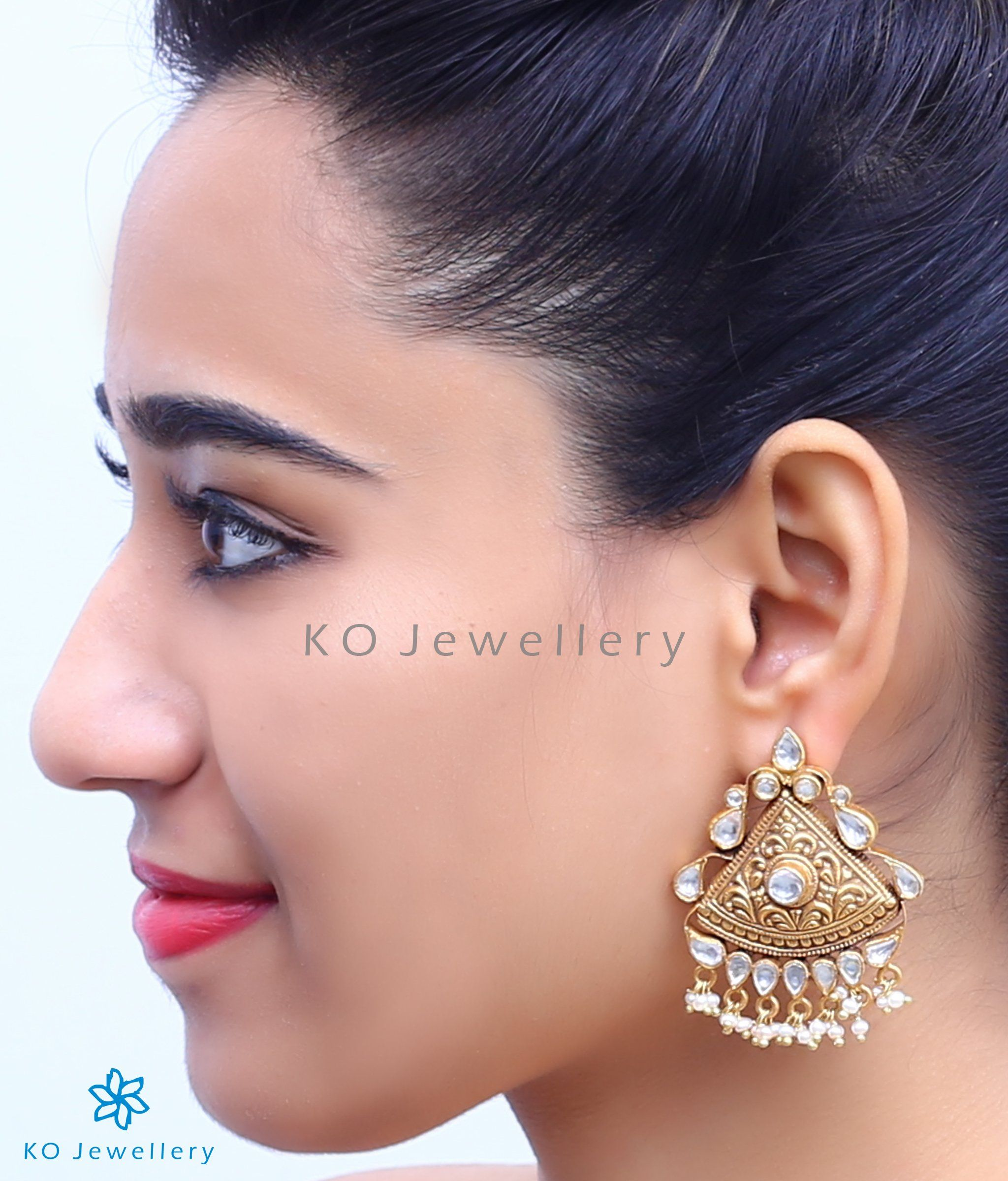 b67ec06ae The Kashish Silver Polki Earrings-Buy jadau jewellery online - KO Jewellery