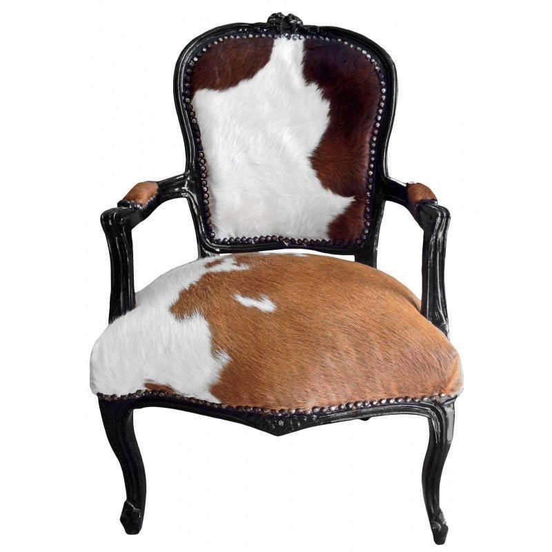 Merveilleux Cowhide French Louis XV Chair
