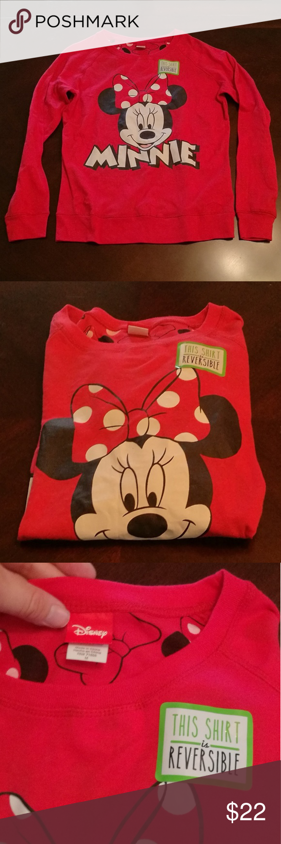 Reversible Disney Minnie Mouse top -NWOT Disney shirt new w/out tags. Reversible. Pictures of both inside and out included. Disney Tops