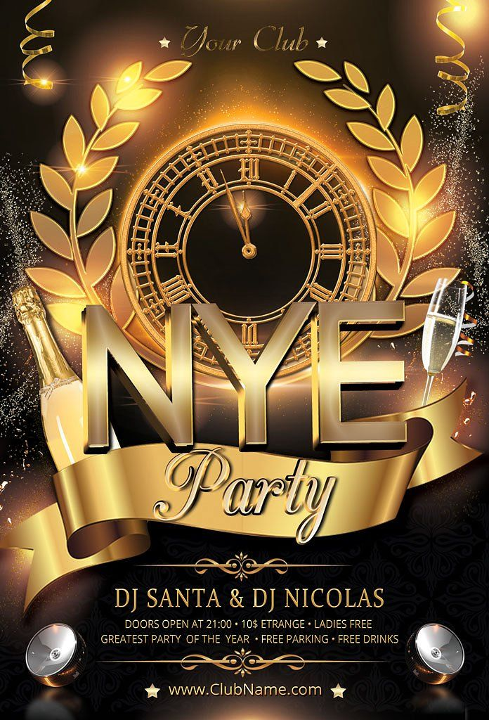 New Year Party Flyer Party flyer, Flyer template and Fonts - new years party flyer