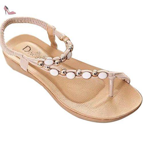 Femmes Bohème Strass T-Strap Thong Confort Plat Été Plage Sandale Chaussures