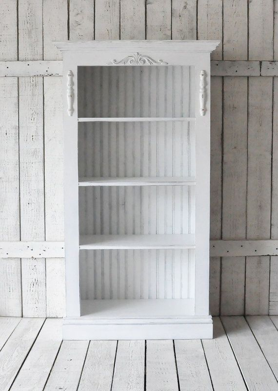 Bookcase In Distressed White Bookshelf In By