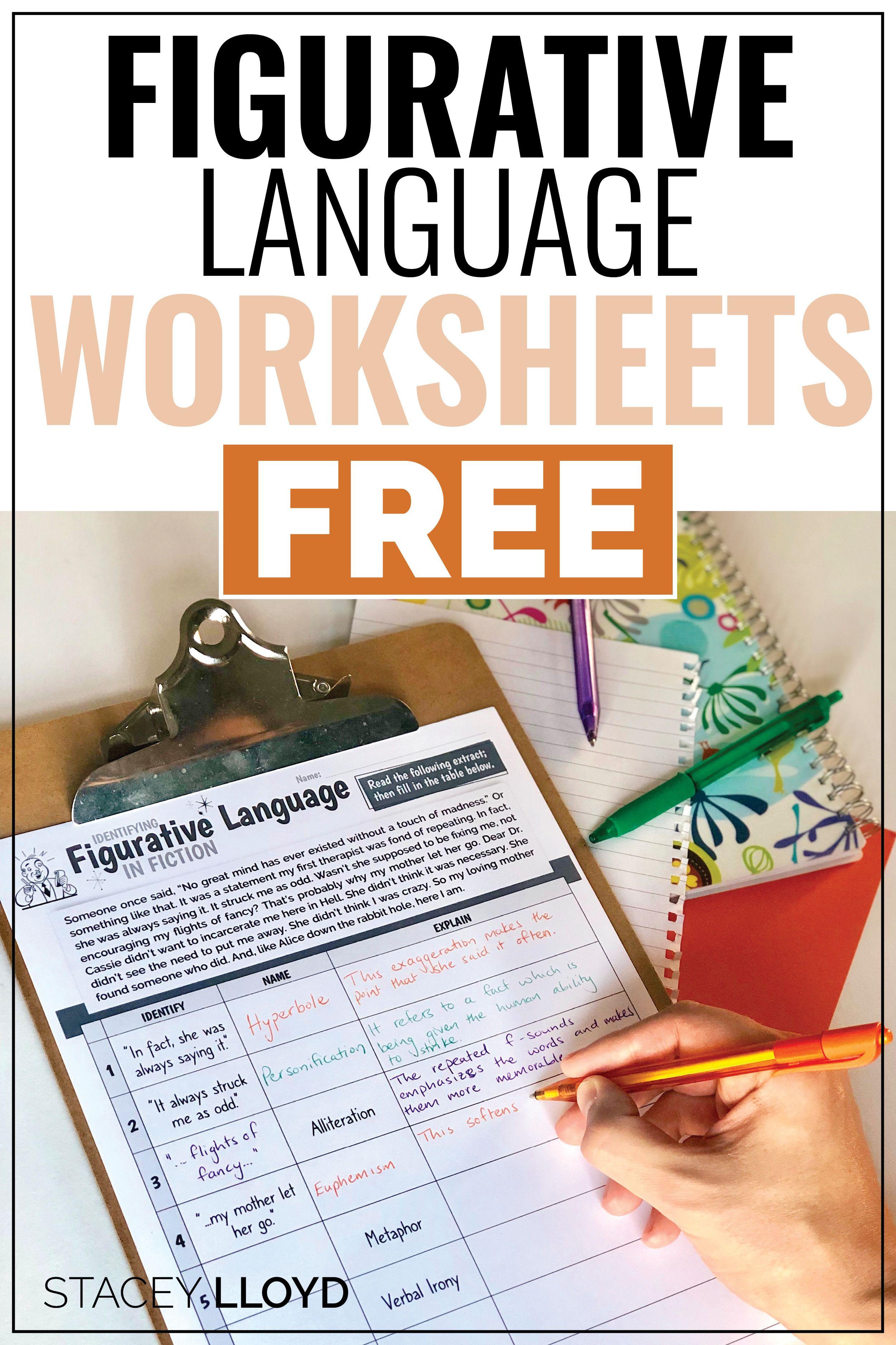 3 Free Figurative Language Worksheets Figurative Language Worksheet Language Worksheets Figurative Language