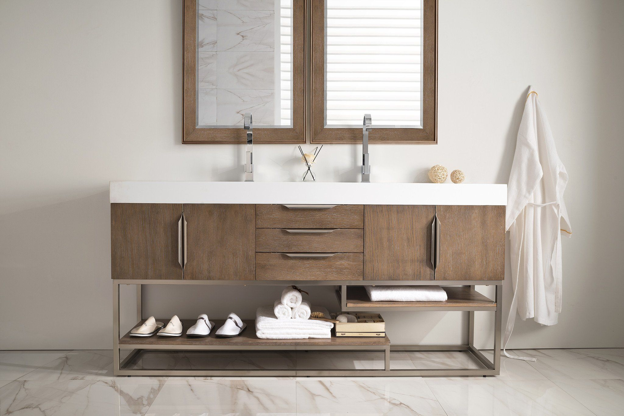 James Martin Signature Vanities Mercer Island 72 In W Double Vanity Latte Oak With Solid Surface Top White Basin At The Home Depot