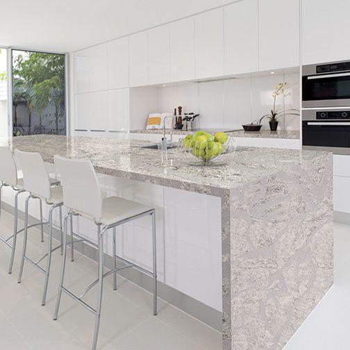 Quartz Kitchen Island Ideas: Summerhill From Cambria's Coastal Collection. #MyCambria