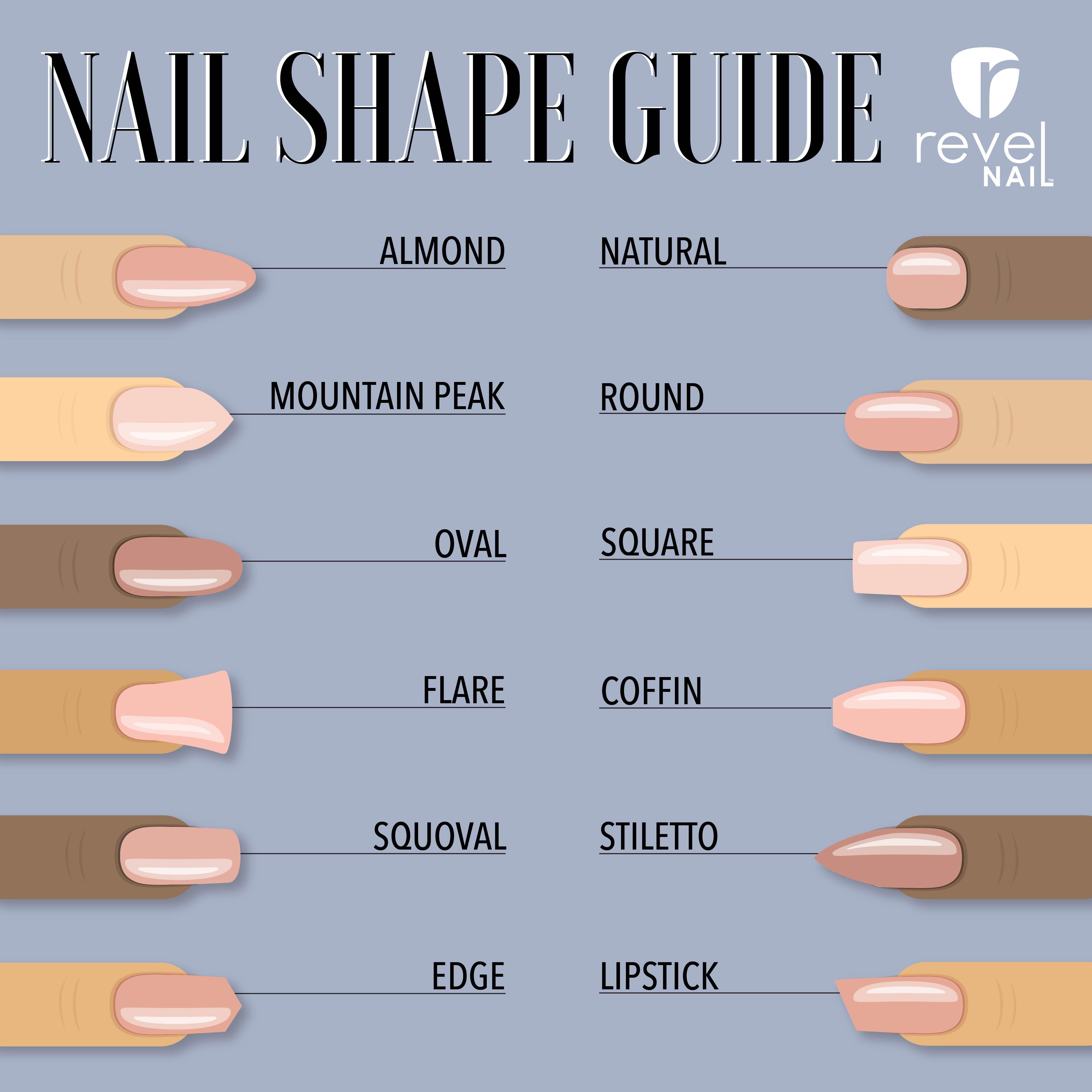 Choosing A Perfect Nail Shape Revelnail Acrylic Nail Shapes Nail Shapes Almond Acrylic Nails