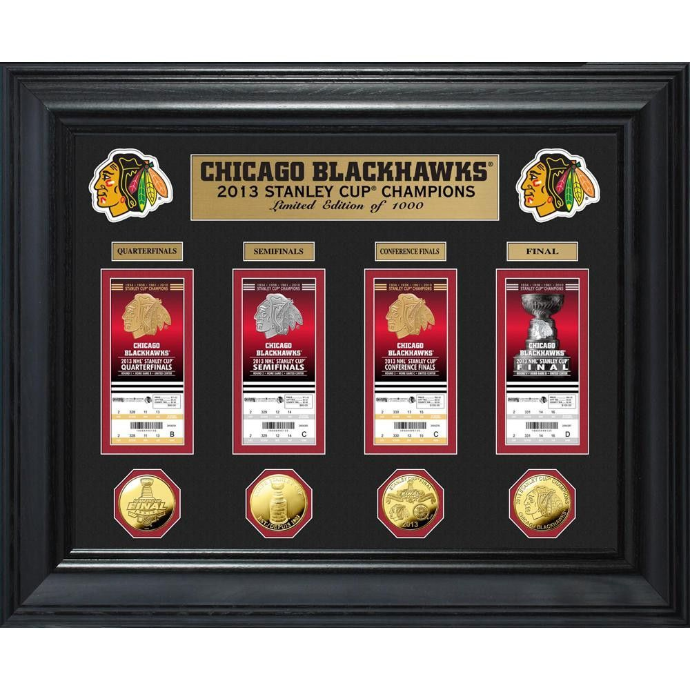Chicago Blackhawks Stanley Cup Ticket and Gold Coin Collection