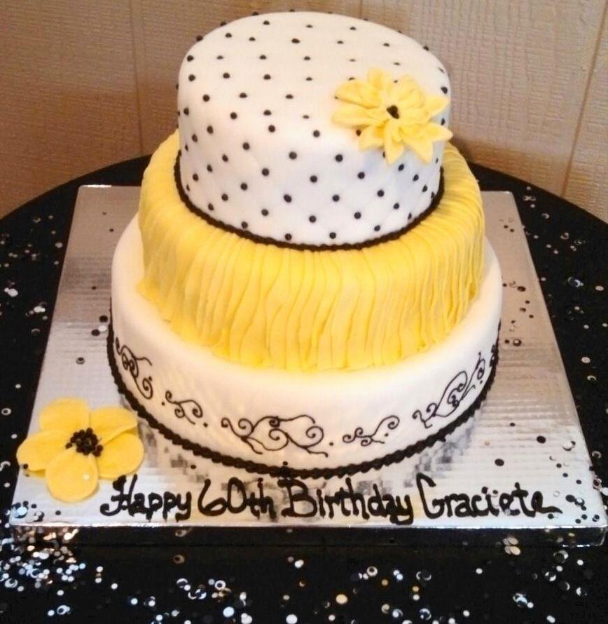 60th Birthday Cake Yellow Black Cakes Pinterest Cake 60th
