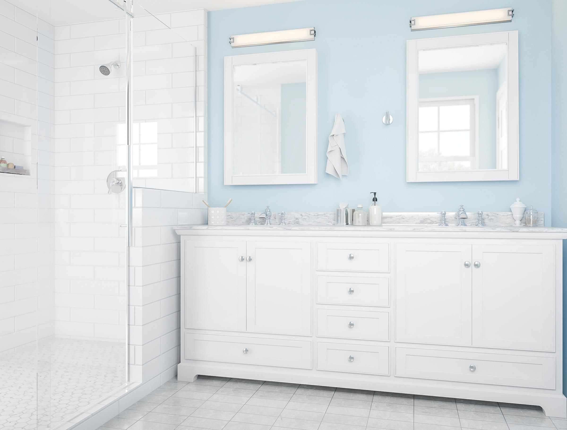Modern White And Ice Blue Bathroom Blue Bathroom Blue Shower Tile Small Bathroom