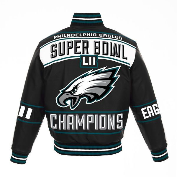 fdafd68c1 Men s NFL Pro Line by Fanatics Branded Black Philadelphia Eagles Super Bowl  LII Champions Full-Snap Leather Jacket 3