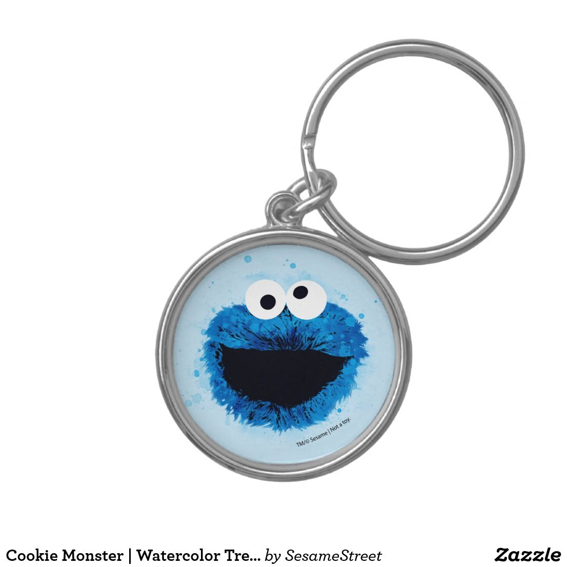 Cookie Monster Watercolor Trend Keychain Zazzle Com