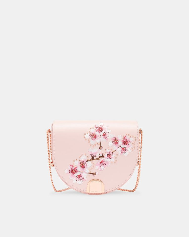 Soft Blossom leather moon bag - Light Pink