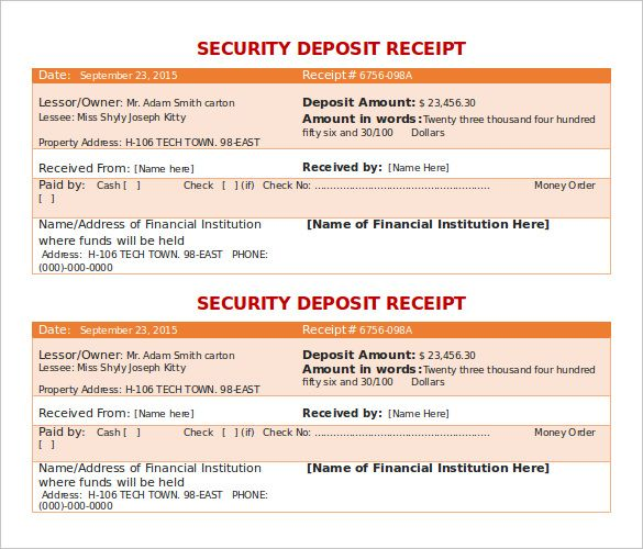 Security Deposit Receipt Template Doc for Free , The Proper - free printable rent receipt