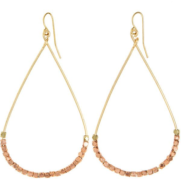 VANESSA MOONEY Beaded Teardrop Hoop Earrings ($39) ❤ liked on Polyvore featuring jewelry, earrings, copper, vanessa mooney earrings, vanessa mooney jewelry, beaded hoop earrings, hoop earrings and beaded jewelry