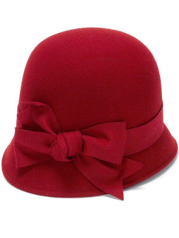 Wool cloche hat in deep red