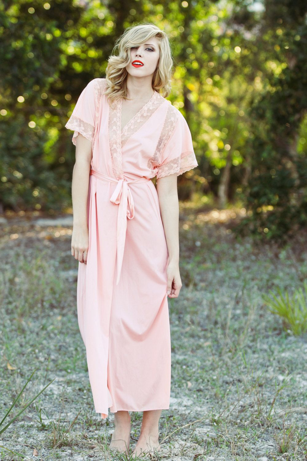 Lace Detail on Short Sleeve Long Robe