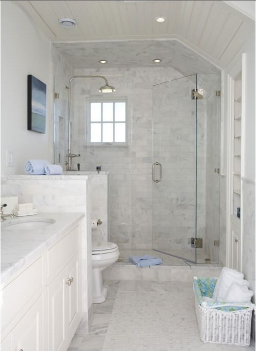 Long Narrow Bathroom With Shower Stall Toilet Pony Wall