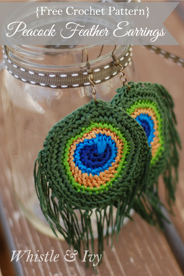 Crocheted Peacock Feather Earrings – | All Free Crochet And Knitting ...