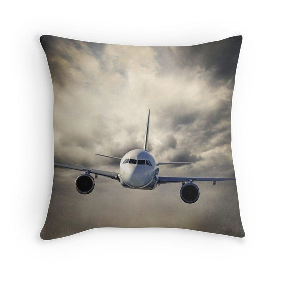 PLANE THROW PILLOW Cloudy Sky Airplane By KaliLainePhotography Magnificent Airplane Decorative Pillow