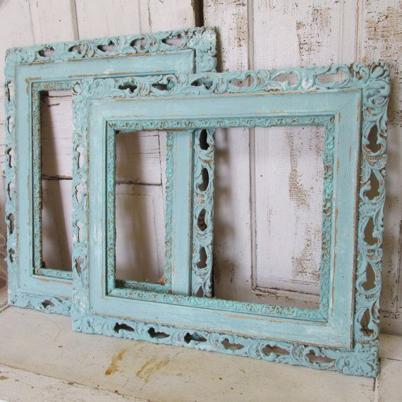 Large wooden frames shabby cottage vintage lace edge aged distressed ...