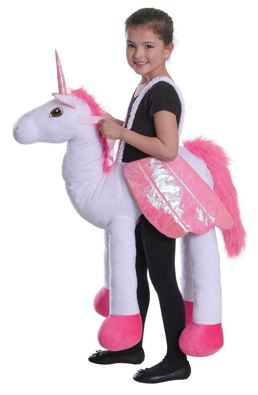 Childrens White Step-in Riding Unicorn Fancy Dress Kids ...