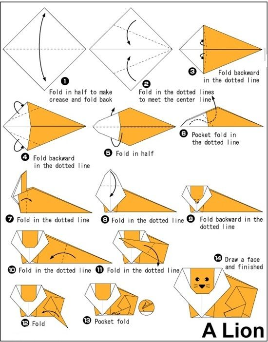 Let's Try ! Simple Steps To Make Origami Lion. #kidscrafts #DIY