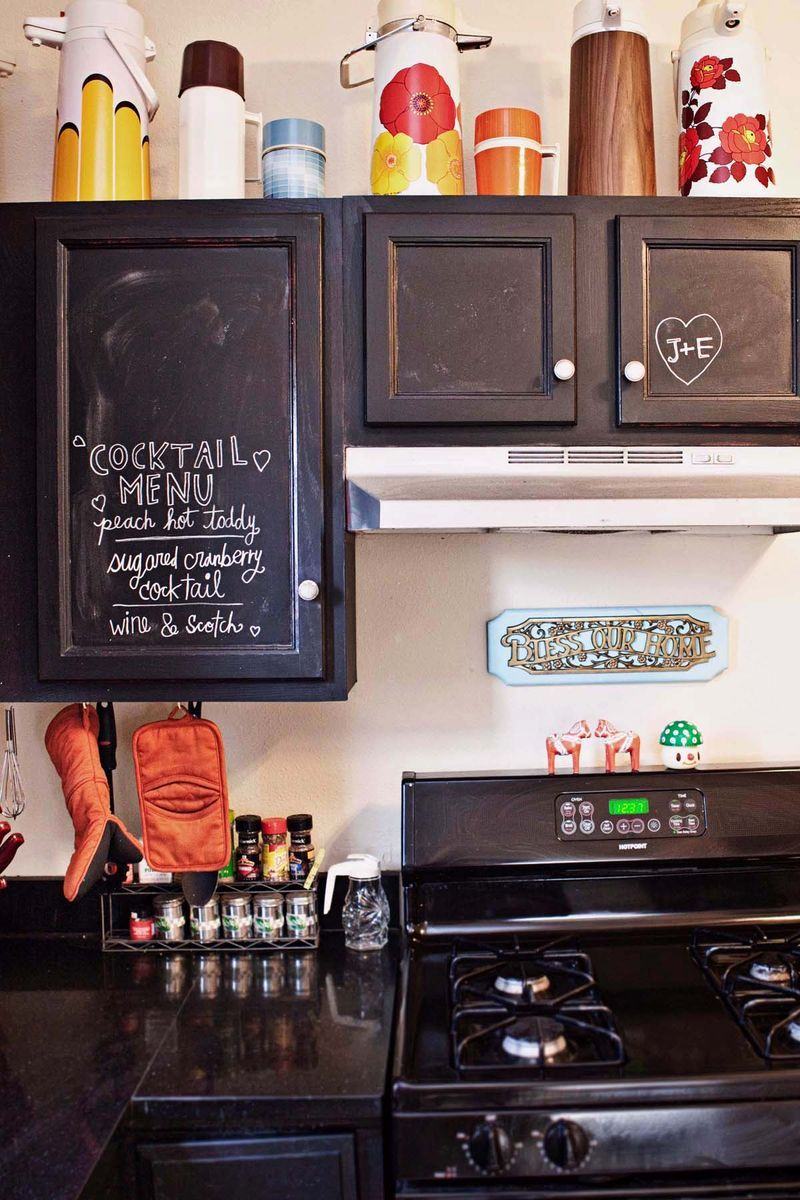 I love the chalkboard cabinets. Perfect for dinner menus cocktail ideas cute love messages. I want to have a black counter with red appliances ... & Home Tour: Our Kitchen | Home ideas | Painting cabinets Painting ...