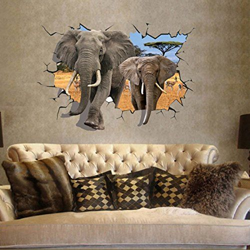 5 87 African Elephant 3d Style Wall Decal Pvc Home Sticker House Vinyl Paper Decoration Removable Wall Art Decals Elephant Home Decor Wall Stickers Murals